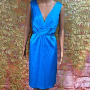 Studio 1940 Tie Back Blue Satin Dress
